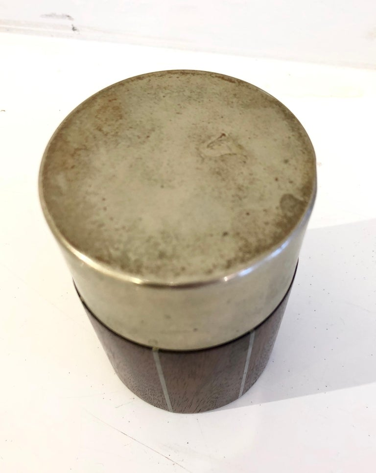 American Pewter and Mahogany Box by Phillip Lloyd Powel and Paul Evans For Sale