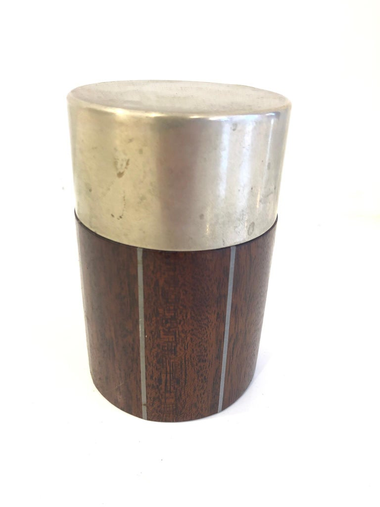 Pewter and Mahogany Box by Phillip Lloyd Powel and Paul Evans In Good Condition For Sale In Hudson, NY