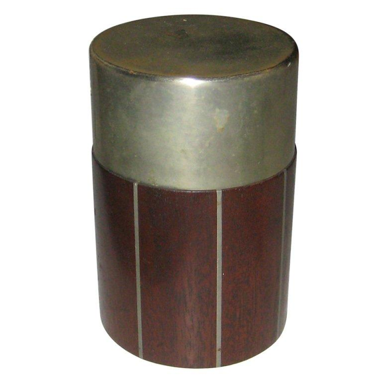 Pewter and Mahogany Box by Phillip Lloyd Powel and Paul Evans For Sale