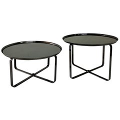 Pewter Finish Low Tiered Side Tables, Pair