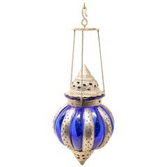 Pewter Moroccan Lantern with Blue Glass