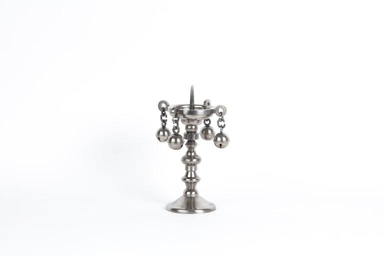 Post-Modern Pewter Studio Job Candleholder Limited Edition For Sale