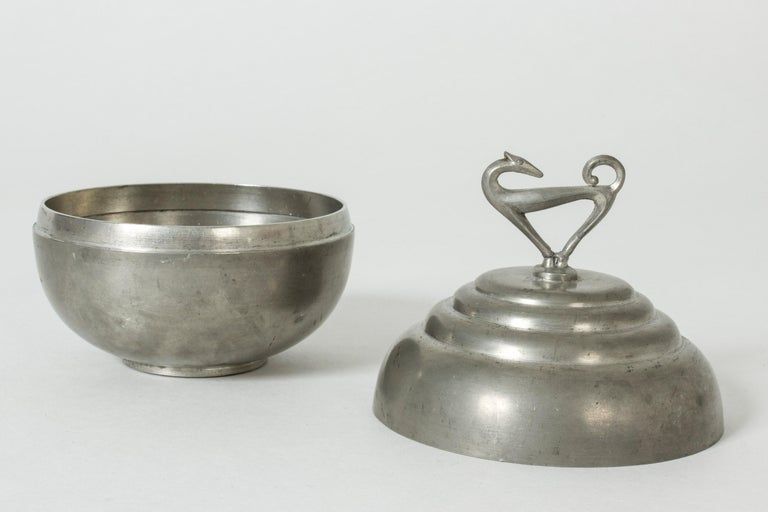 Pewter Swedish Modern Jar by Sylvia Stave for C. G. Hallberg, 1933 In Good Condition For Sale In Stockholm, SE