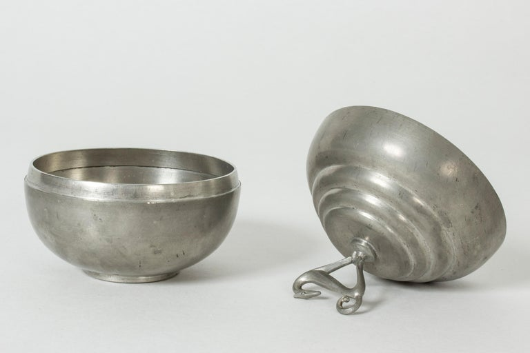 Mid-20th Century Pewter Swedish Modern Jar by Sylvia Stave for C. G. Hallberg, 1933 For Sale