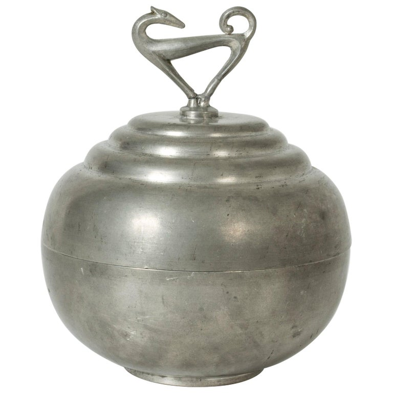 Pewter Swedish Modern Jar by Sylvia Stave for C. G. Hallberg, 1933 For Sale
