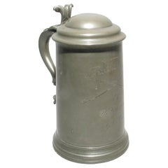 Pewter Tankard Engraved Billiard Match, H. Littledale V. A.C. Isham