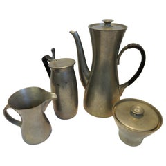 Pewter Tea and Coffee Royal Holland 4-Piece Set Midcentury