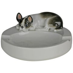Porcelain Ashtray , French Bulldog Dog by Pfeffer Gotha , Germany , 1930s