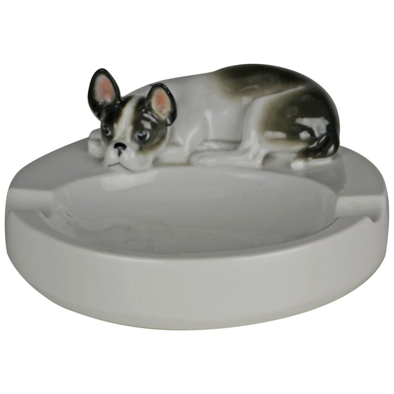 Porcelain Ashtray with French Bulldog Dog by Pfeffer Gotha , Germany  For Sale
