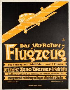 Original Vintage Poster Das Verkehrsflugzeug Airliner Lecture Photographs Films