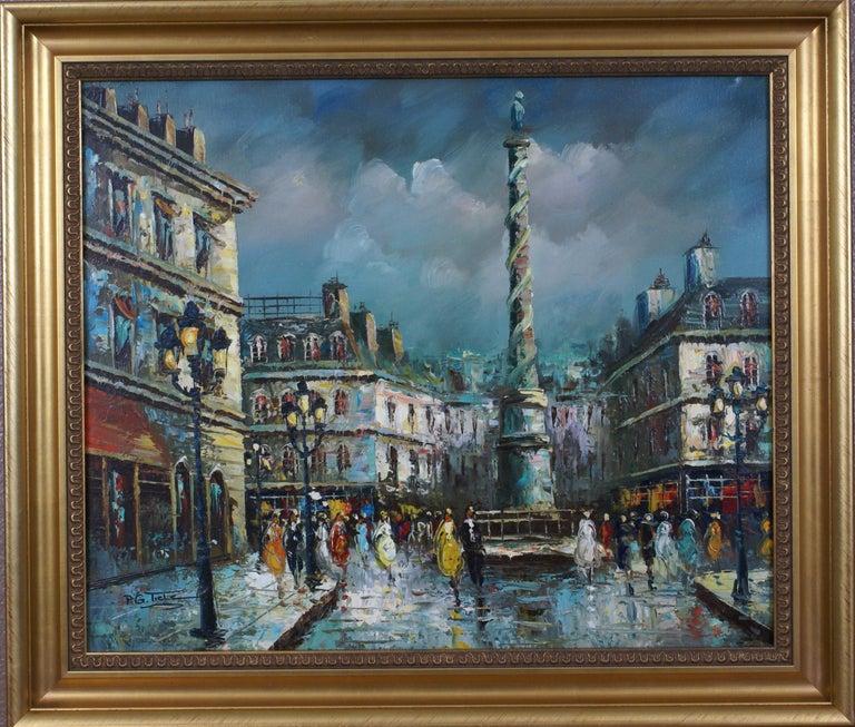 Views of Paris  { Vendôme Column and Flower Stalls} - Painting by P.G. Tiela