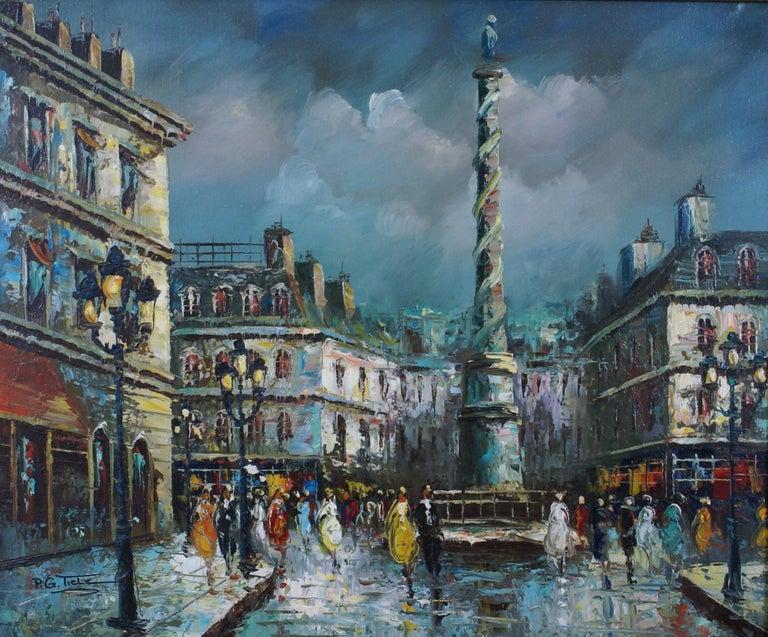 Views of Paris  { Vendôme Column and Flower Stalls} - Impressionist Painting by P.G. Tiela