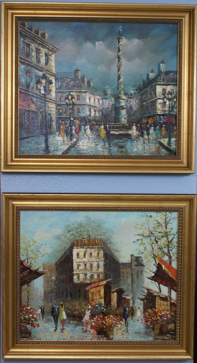 P.G. Tiela Landscape Painting - Views of Paris  { Vendôme Column and Flower Stalls}
