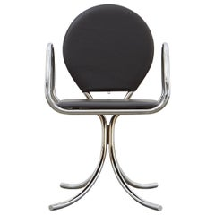 PH Armchair, Chrome, Leather Extreme Black