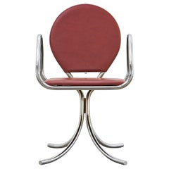 PH Armchair, chrome, leather extreme indianred