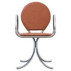 PH Armchair, Chrome, Leather Extreme Walnut