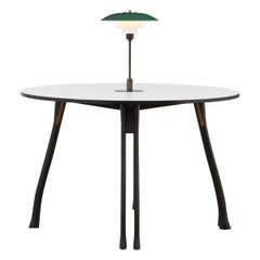 PH Axe Table, black oak legs, laminated plate, green PH 3 ½ - 2 ½ lamp