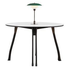 PH Axe Table, black oak legs, laminated plate, green PH 3 ½ - 2 ½ lamp