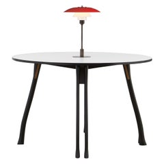 PH Axe Table, Black Oak Legs, Laminated Plate, Red PH 3 ½-2 ½ Lamp