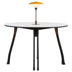 PH Axe Table, Black Oak Legs, Laminated Plate, Yellow PH 3 ½ - 2 ½ Lamp