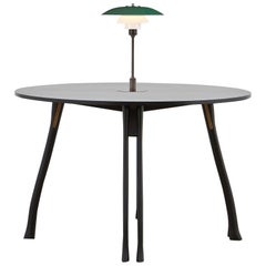 PH Axe Table, Black Oak Legs, Veneer Table Plate, Green PH Lamp