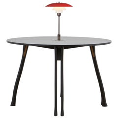 PH Axe Table, Black Oak Legs, Veneer Table Plate, Red PH 3 ½ - 2 ½ Lamp