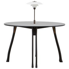 PH Axe Table, black oak legs, veneer table plate, white PH 3 ½ - 2 ½ lamp
