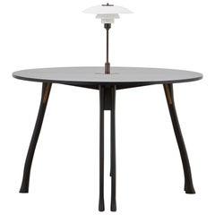 PH Axe Table, black oak legs, veneer table plate, white PH 3 ½ - 2 ½ lamp