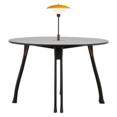 PH Axe Table, black oak legs, veneer table plate, Yellow PH 3 ½ - 2 ½ lamp