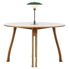 PH Axe Table, natural oak legs, laminated plate, green PH 3 ½ - 2 ½ lamp