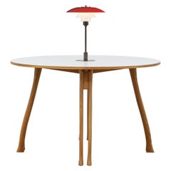 PH Axe Table, Natural Oak Legs, Laminated Plate, Red PH 3 ½ - 2 ½ Lamp