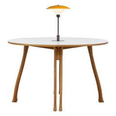 PH Axe Table, Natural Oak Legs, Laminated Plate, Yellow PH 3 ½ - 2 ½ Lamp