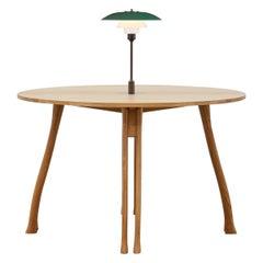 PH Axe Table, natural oak legs, veneer table plate, green PH 3 ½ - 2 ½ lamp