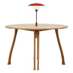 PH Axe Table, natural oak legs, veneer table plate, red PH 3 ½ - 2 ½ lamp