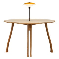 PH Axe Table, natural oak legs, veneer table plate, yellow PH 3 ½ - 2 ½ lamp