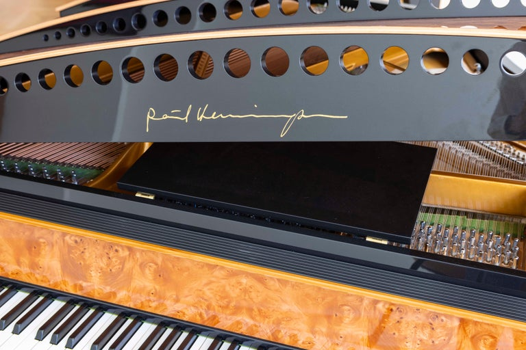 PH Bow Grand Piano in American Red Maple Burl with Brass Details For Sale 5