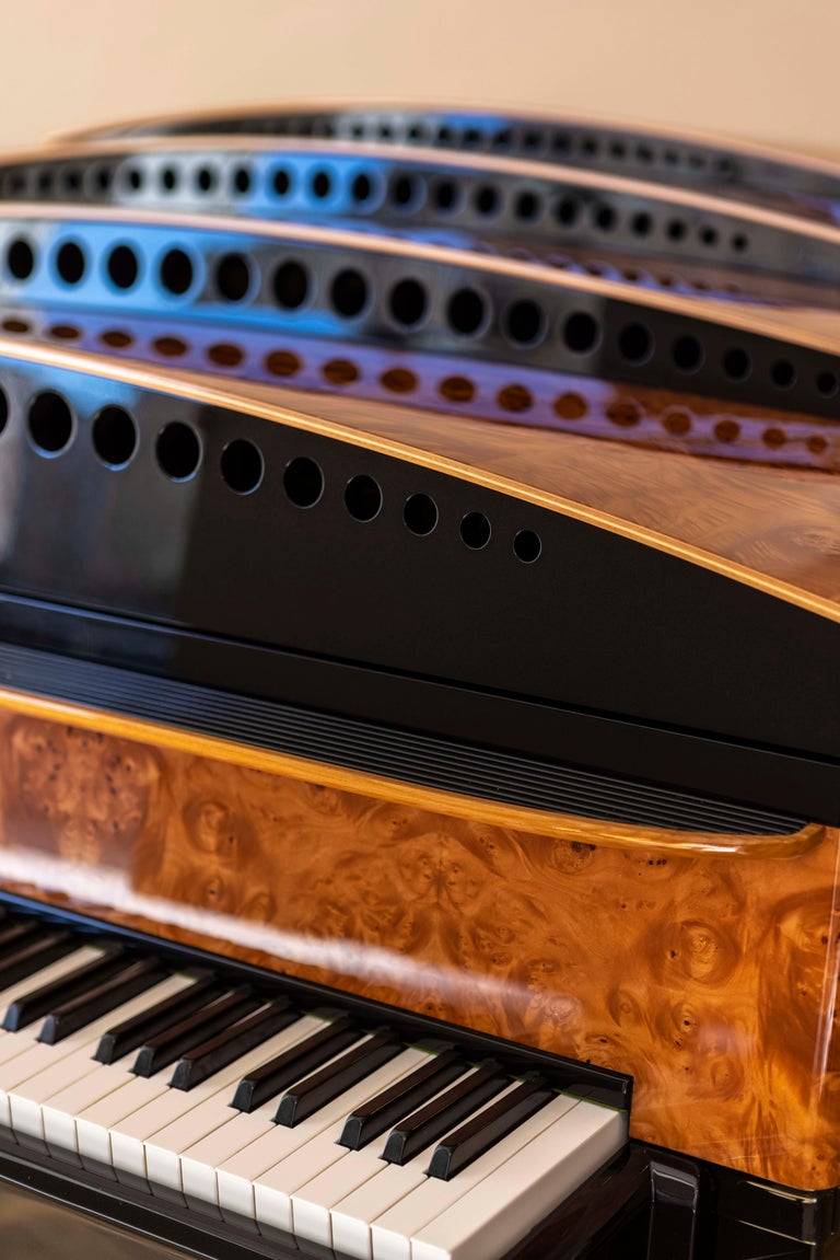 PH Bow Grand Piano in American Red Maple Burl with Brass Details For Sale 6