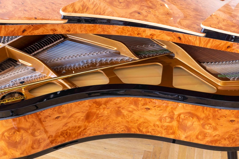 PH Bow Grand Piano in American Red Maple Burl with Brass Details For Sale 7