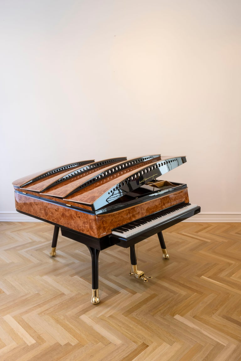 Art Deco PH Bow Grand Piano in American Red Maple Burl with Brass Details For Sale