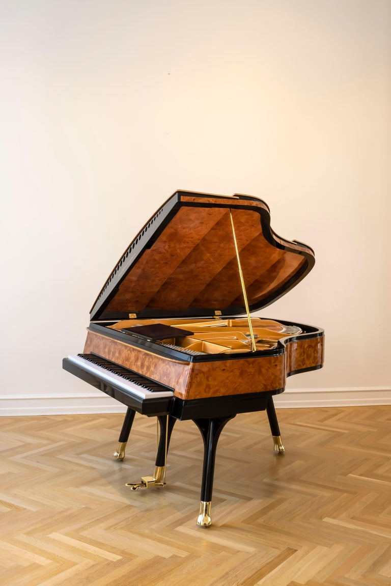 Danish PH Bow Grand Piano in American Red Maple Burl with Brass Details For Sale