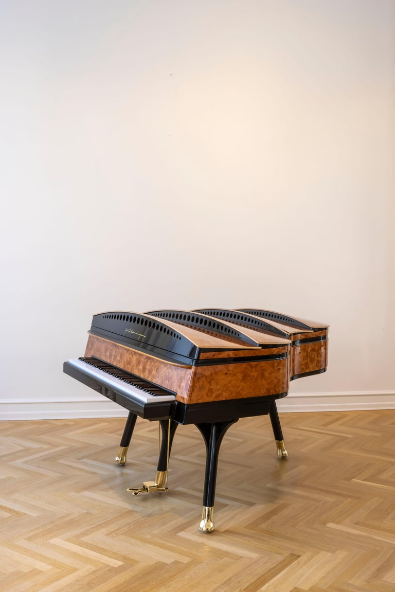 PH Bow Grand Piano in American Red Maple Burl with Brass Details In New Condition For Sale In Copenhagen, DK