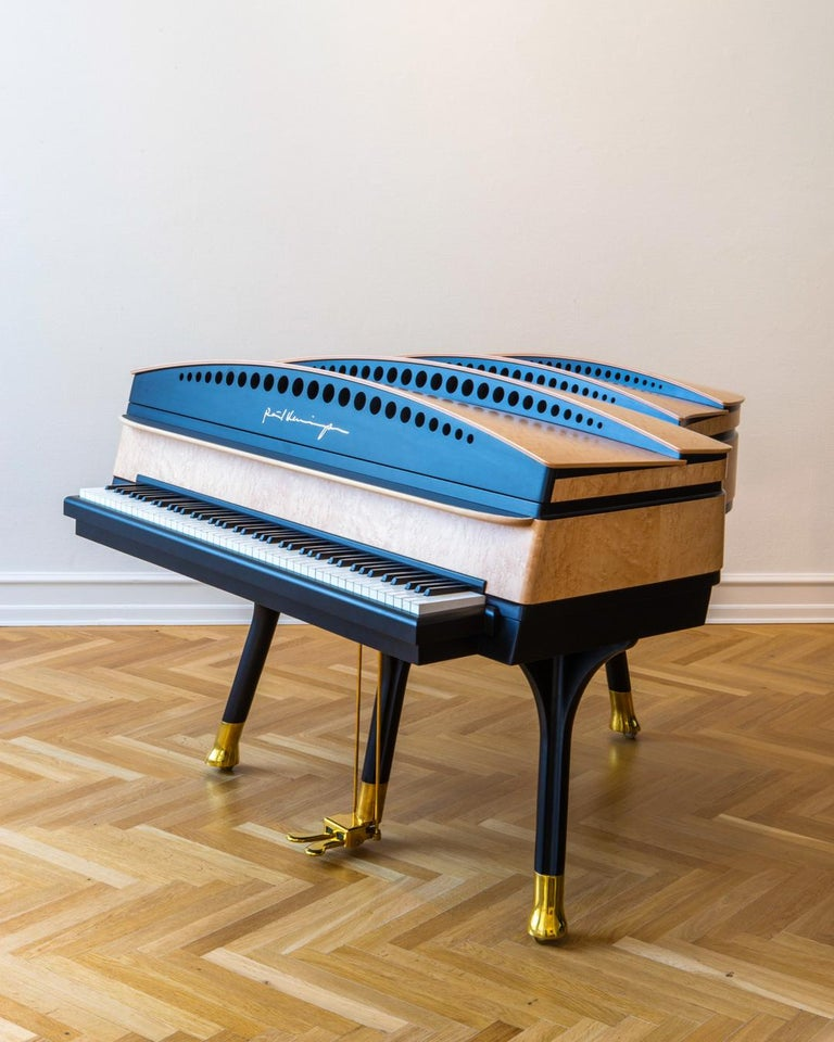 Art Deco PH Bow Grand Piano in Maple Birch with Brass Details For Sale