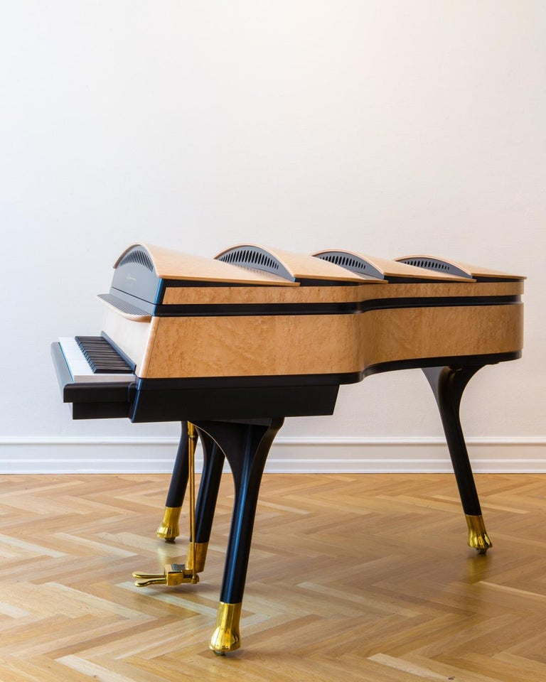 Danish PH Bow Grand Piano in Maple Birch with Brass Details For Sale
