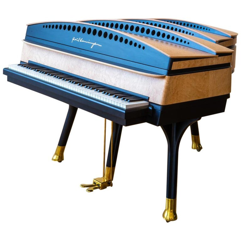 PH Bow Grand Piano in Maple Birch with Brass Details For Sale