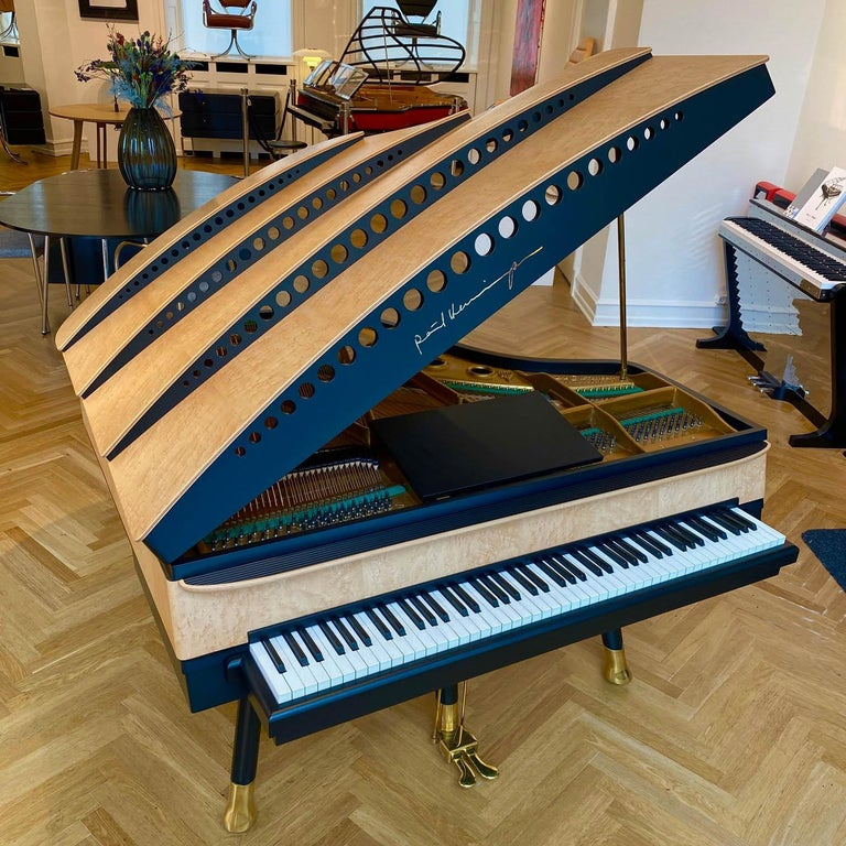 Art Deco PH Bow Grand Piano, Maple Birch with Brass Details For Sale