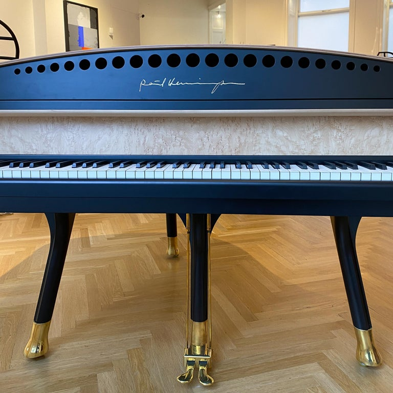 PH Bow Grand Piano, Maple Birch with Brass Details For Sale 2