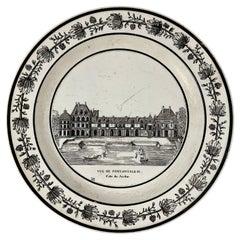 PH Choisy French Creamware Neoclassical Fontainbleu à Paris Architecture Plate