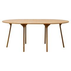 PH Circle Table, Natural Oak Wood Legs, Veneer Table Plate and Edge