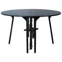 PH Circle Table folding, black oak wood legs, veneer table plate and edge