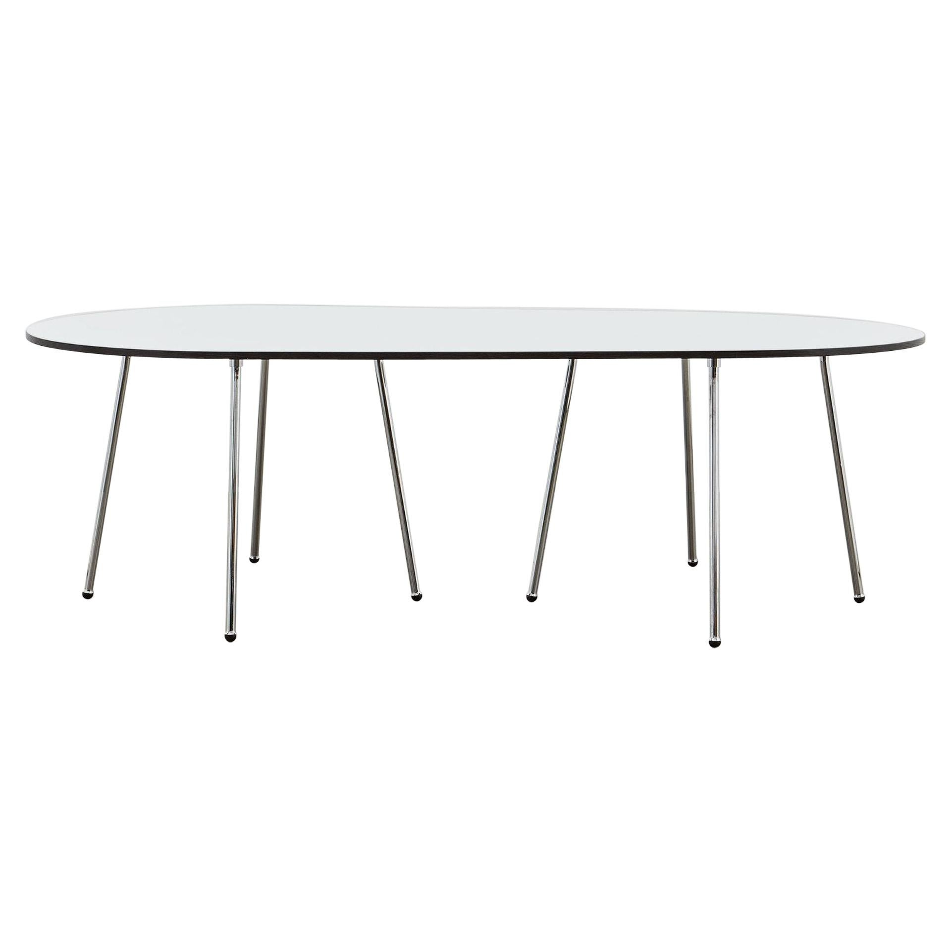 PH Dining Table, Chrome, Laminated Plate with Black Abs Edge